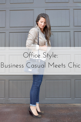 Business Casual Meets Chic - Cathedrals and Cafes Blog - Office Style - Blazer - Denim - Wedges - H&M - Tory Burch - Kate Spade NY