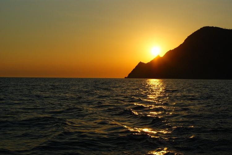 Sun setting over Cinque Terre