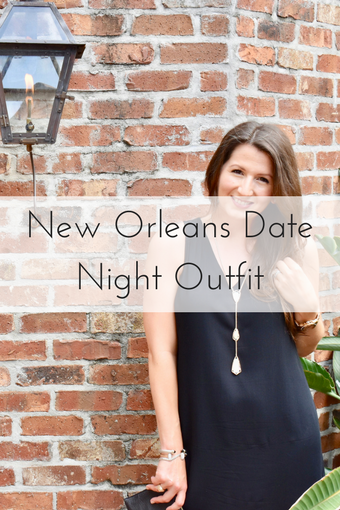 Brunette woman wearing little black dress from Old Navy in New Orleans