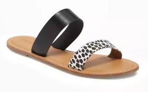 Old Navy double-strap leather women's sandal in black and leopard print