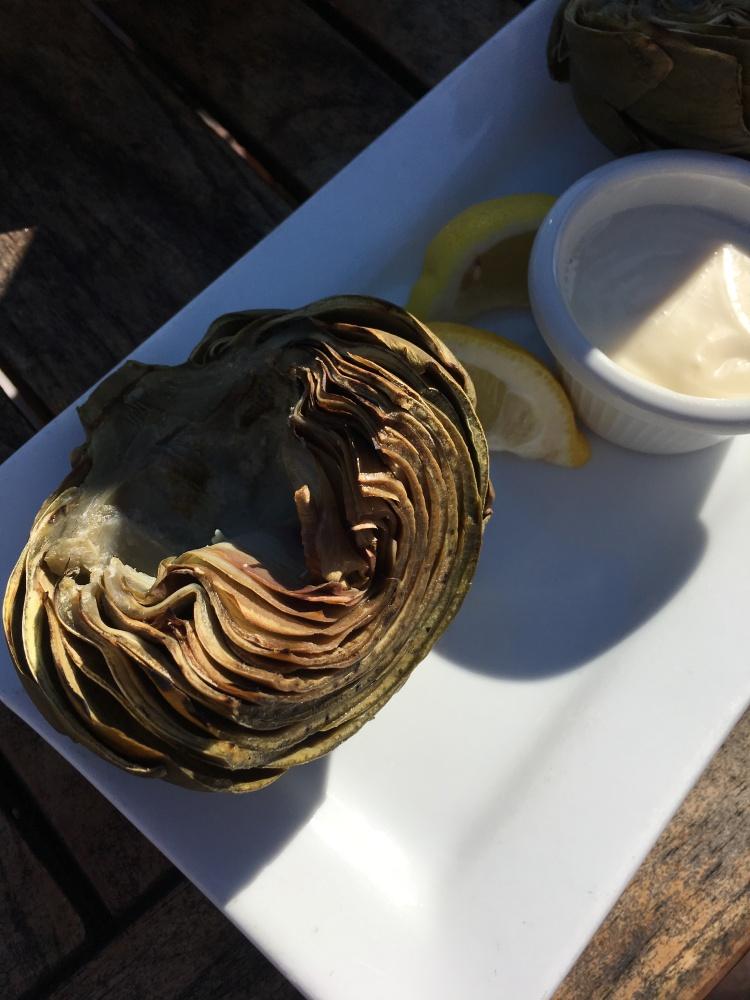 Fresh locally grown california grilled artichoke