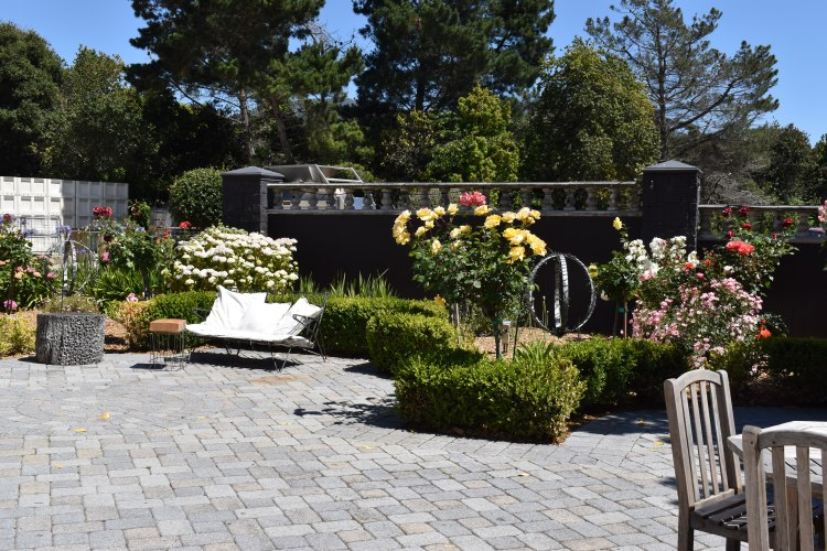 Seating area and rose garden at folktale winery and vineyards