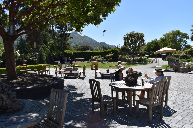 An expansive courtyard at Folktale Winery and Vineyards