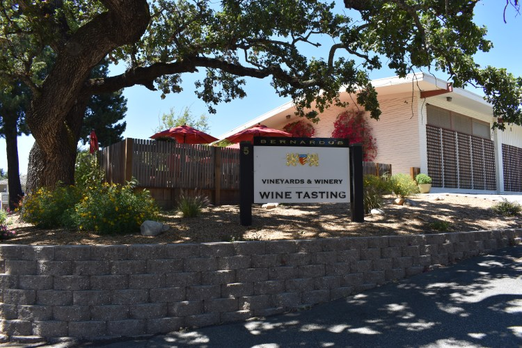 the entrance to bernardus winery in carmel valley village