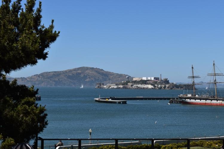 view of alcatraz from ghirardelli square
