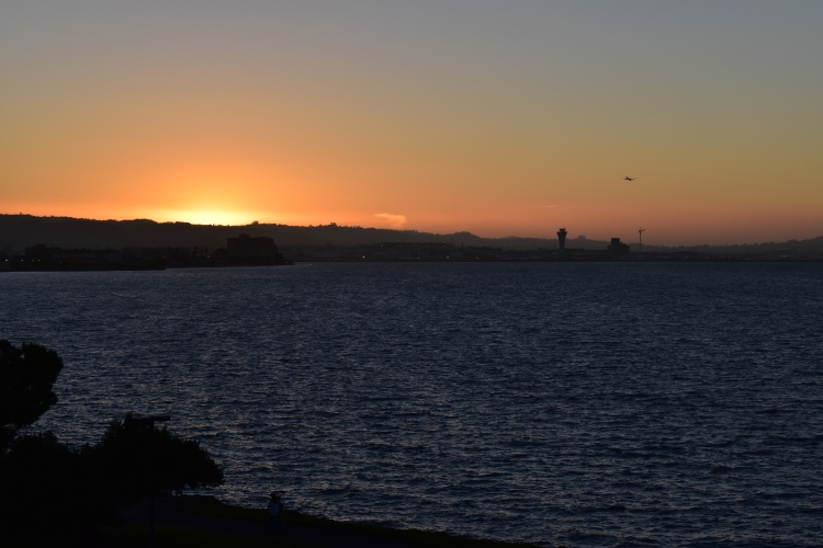 the sunset over san francisco bay