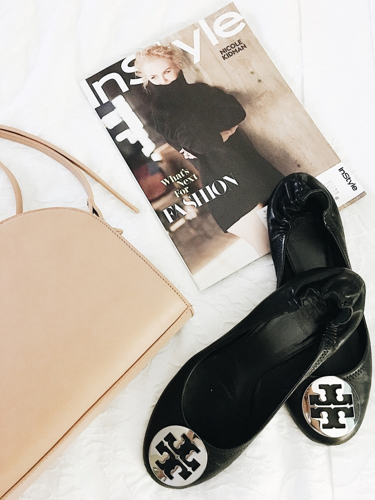 sole society bag with tory burch flats and in style magazine