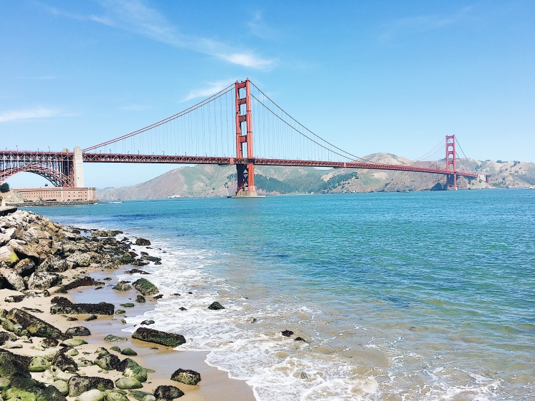 A view of the golden gate bridge from crissy field in san francisco california