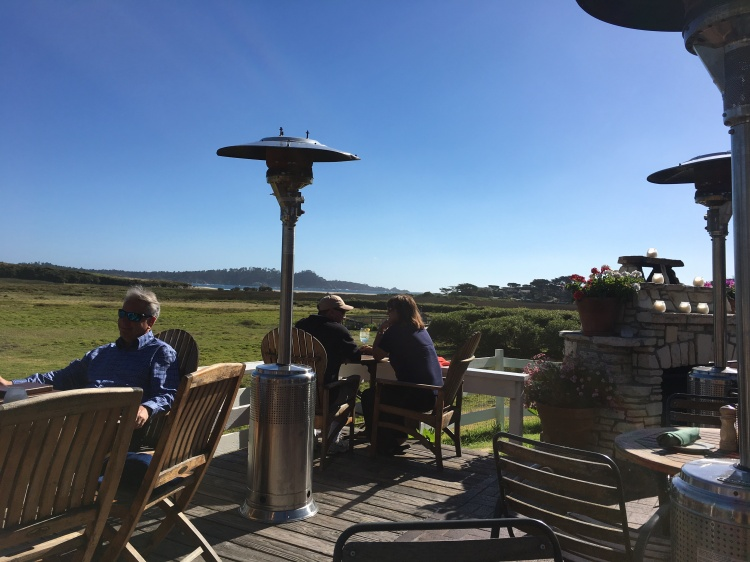The patio at mission ranch restaurant overlooking carmel bay