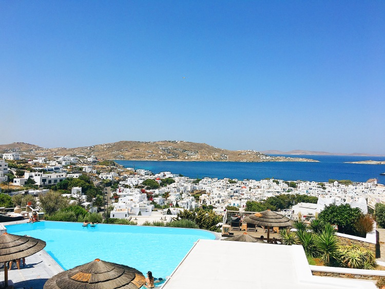 The view of Mykonos Town and the sea from Vencia Boutique Hotel