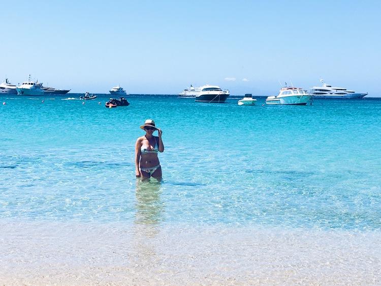Platis Yialos beach in Mykonos, Greece