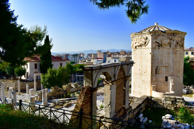 A view of the Tower of the Winds in Athens, Greece