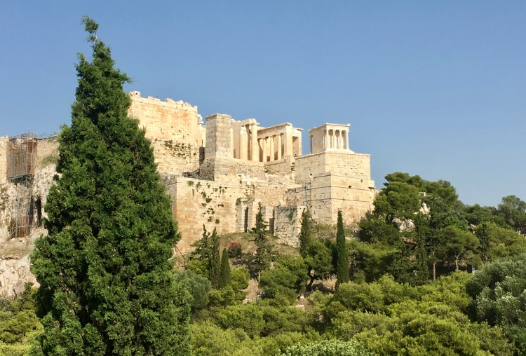 A view of the Acropolis from Mars Hill in Athens, Greece