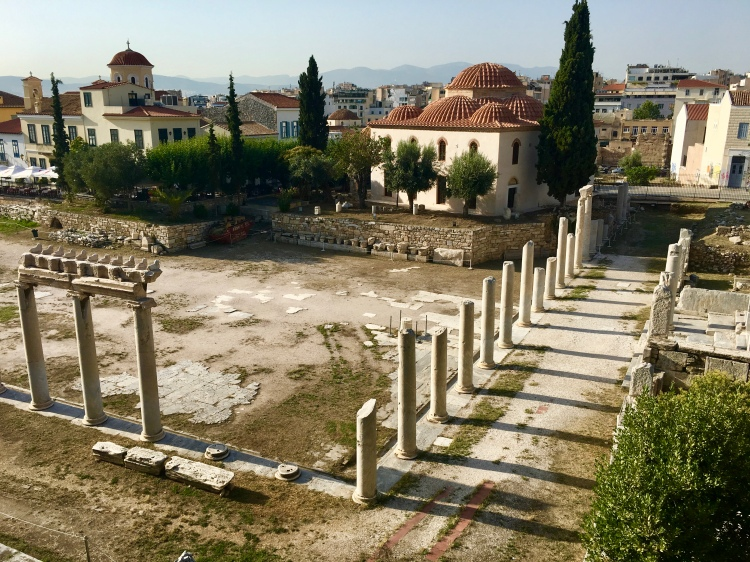 The ruins of the Roman Agora in Athens, Greece