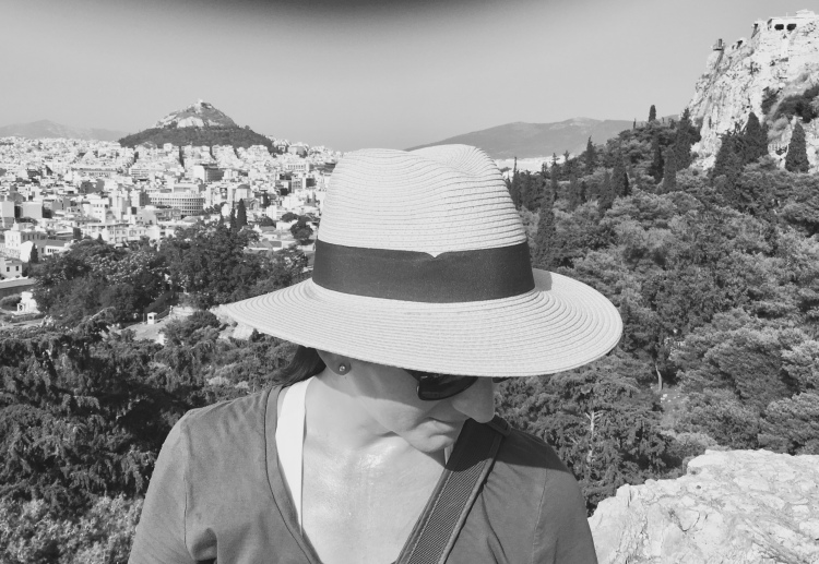 Erin from Cathedrals and Cafes on Mars Hill with views of Athens