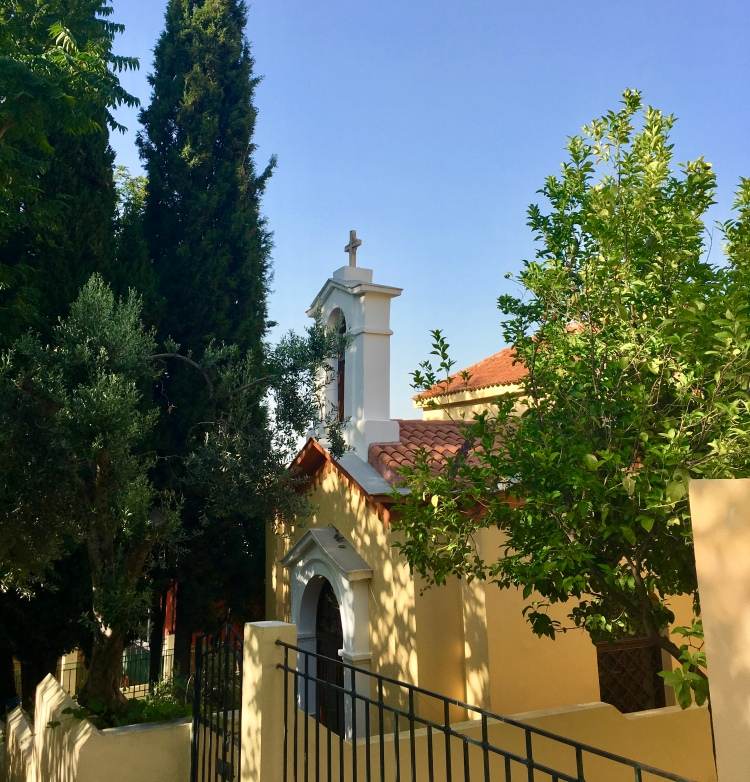 A yellow chapel in Plaka Athens