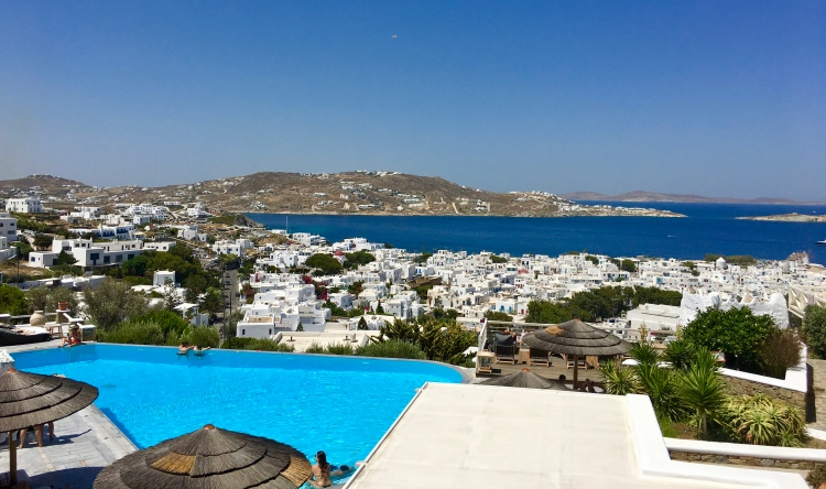 Infinity pool at Vencia Boutique Hotel overlooking Aegean Sea in Mykonos