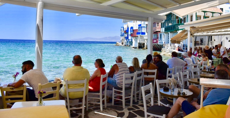 Waterfront bar in Little Venice Mykonos