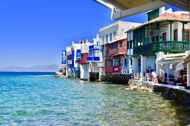 Little Venice along the water in Mykonos Greece