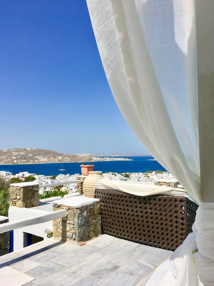 View from pool lounge bed at Vencia Boutique Hotel in Mykonos Greece