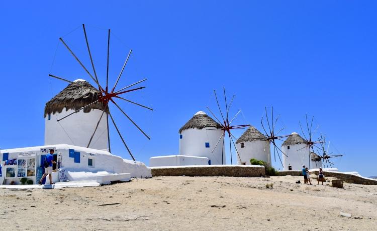 Four windmills on Mykonos island Greece