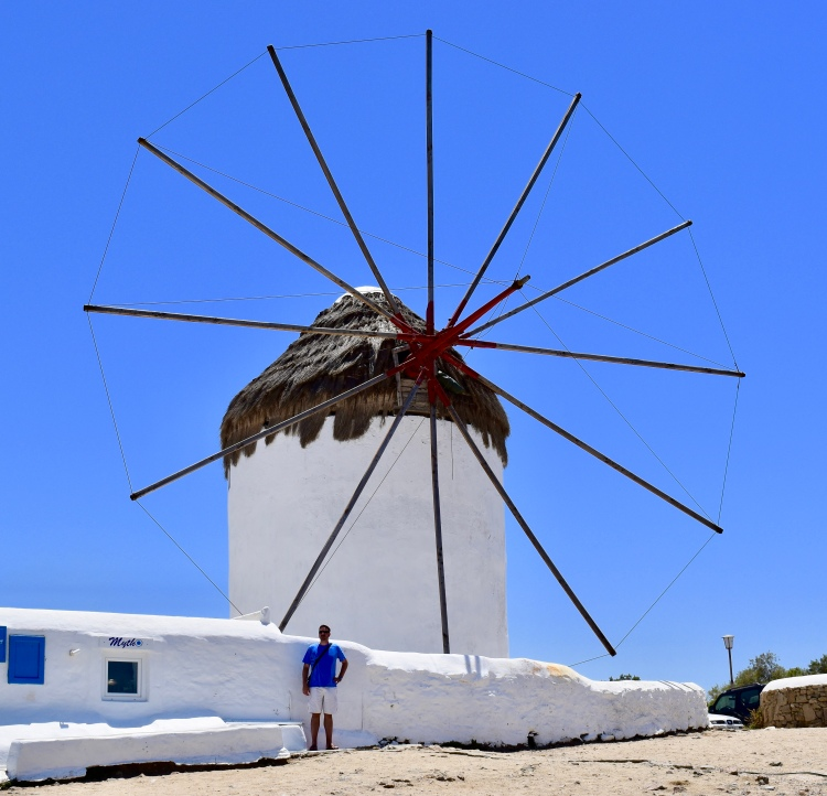 A single windmill on Mykonos island Greece