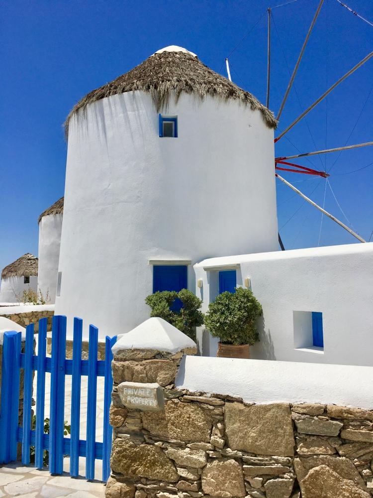 Mykonos windmill with blue gate