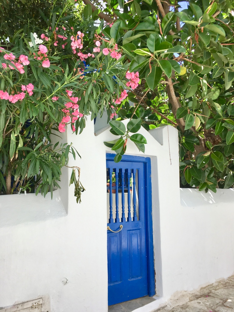 Blue door with pink flowers in Mykonos