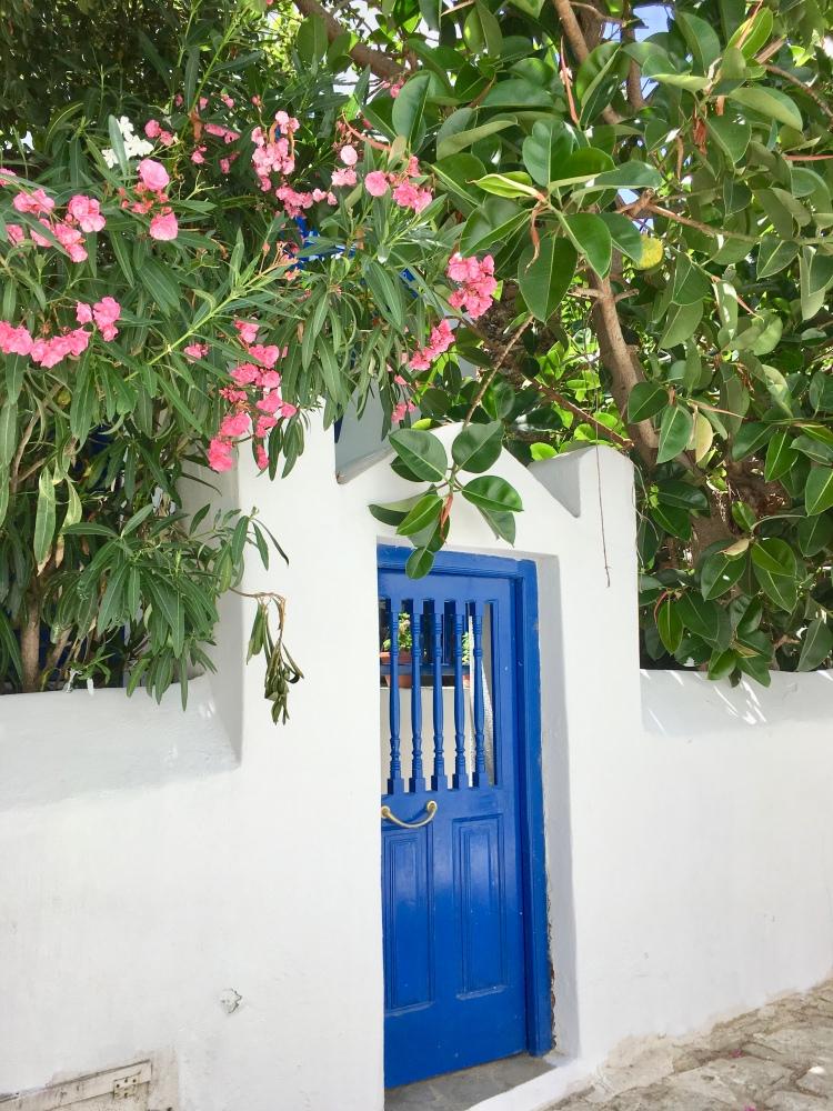 Blue door with pink flowers in Mykonos