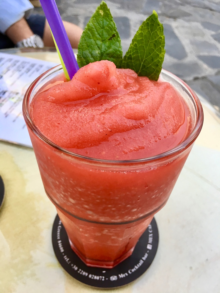 Frozen strawberry drink at Mex Bar in Mykonos
