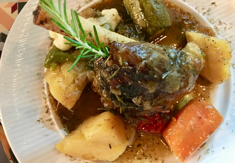Lamb shank at Bakalo Restaurant in Mykonos, Greece