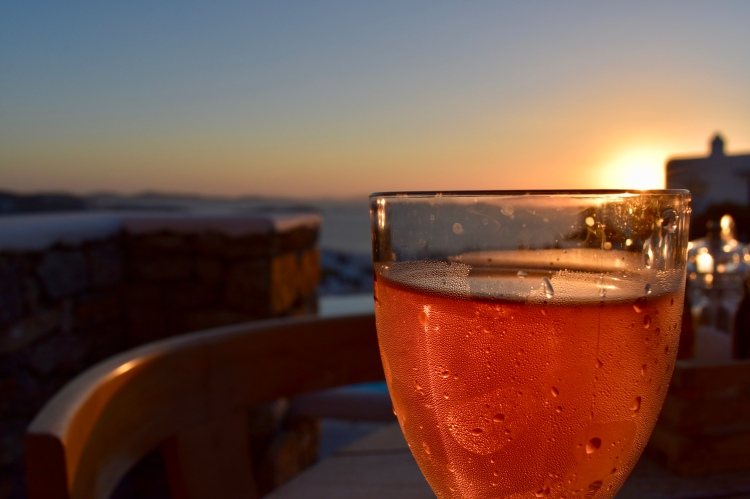 Rosé and Mykonos sunset