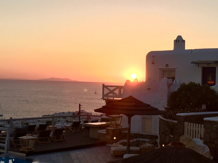 Sunset over Mykonos from Vencia Boutique Hotel
