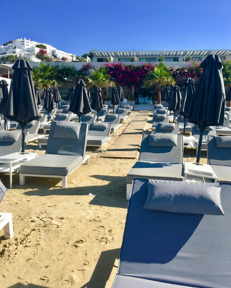 Lounge chairs at Platis Yialos Beach Club, Mykonos, Greece