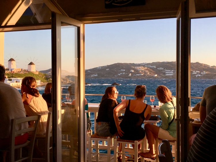 The terrace at Katerina's Restaurant and Bar in Mykonos, Greece