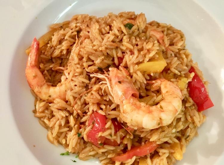 The shrimp pasta at Katerina's Restaurant and Bar in Mykonos, Greece
