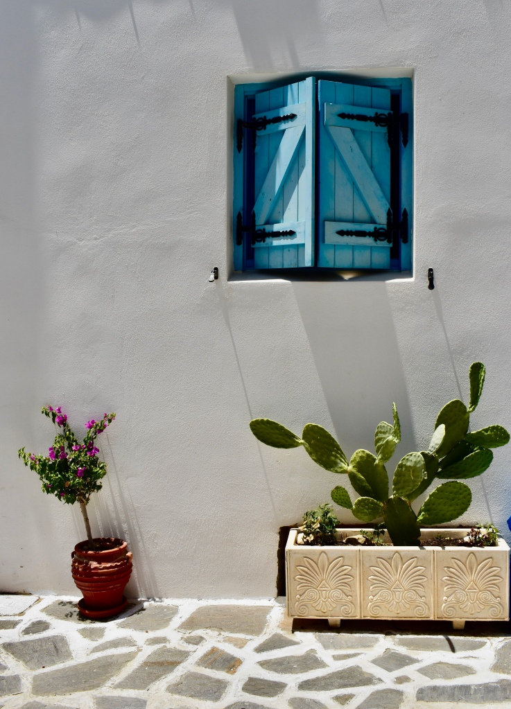 A pair of blue shutters with a cactus in Naxos, Greece