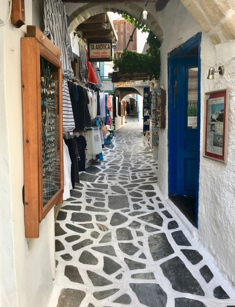 A footpath with artisan shops in Chora, Naxos