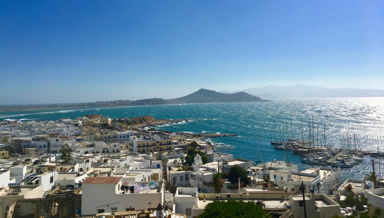 The view high above Naxos from the castle