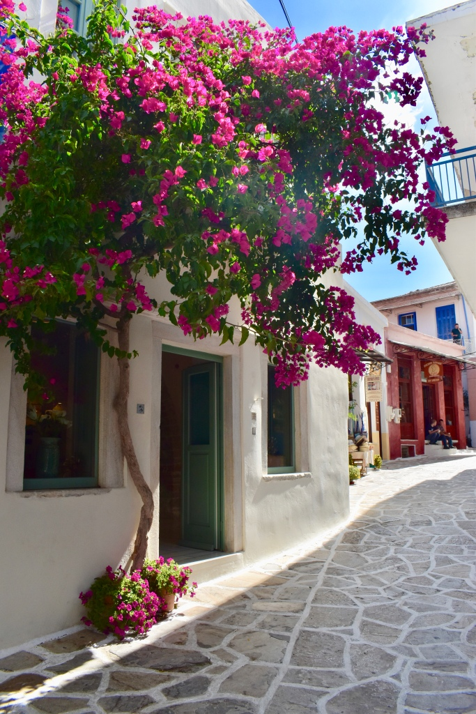 A floral covered street in Halki Naxos, Greece