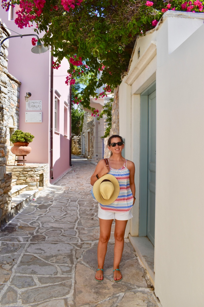 Erin from Cathedrals and Cafes in the village of Halki, Naxos Greece