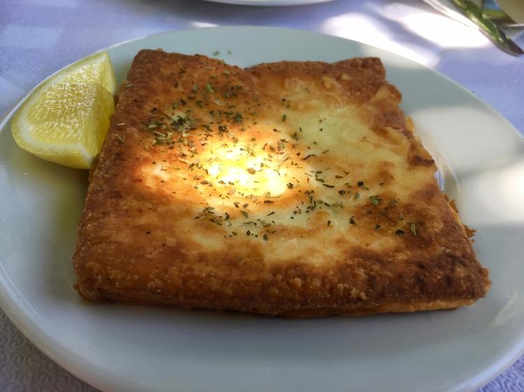 A plate of fried feta from Nicolas in Filoti, Naxos Greece