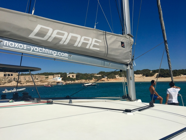 The catamaran Danae with captain Mario and owner Ioannis from Naxos Yachting, Naxos Island Greece