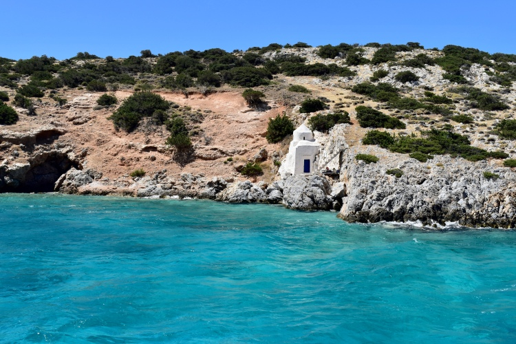 A view from the water of San Savio chapel in Naxos, Greece