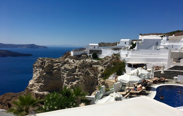 A view of the sea from one of three pools at Volcano View Hotel in Santorini Greece