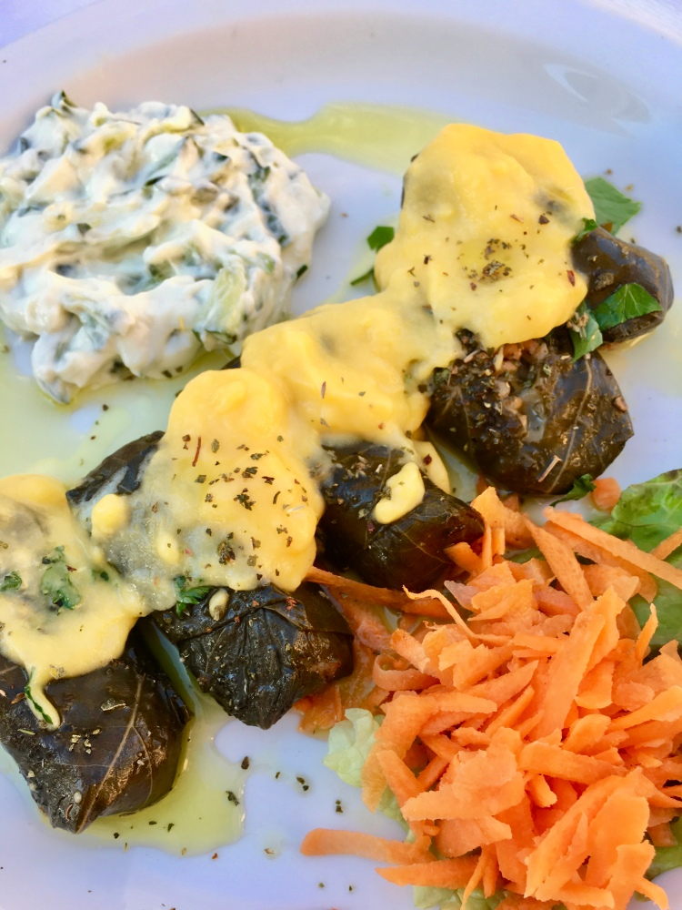 A plate of stuffed grape leaves at Naoussa Restaurant in Santorini Greece