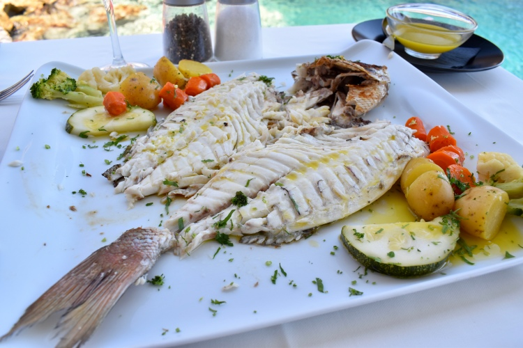 A platter of fileted red snapper at Ammoudi Fish Tavern in Ammoudi Bay, Oia Santorini Greece