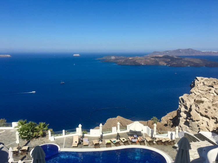 One of three pools at Volcano View Hotel in Santorini