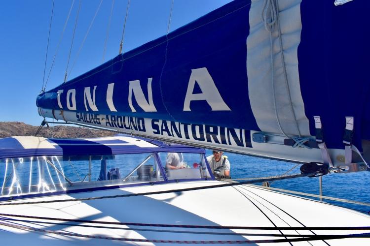 The sail of catamaran Tonina from Santorini Sailing