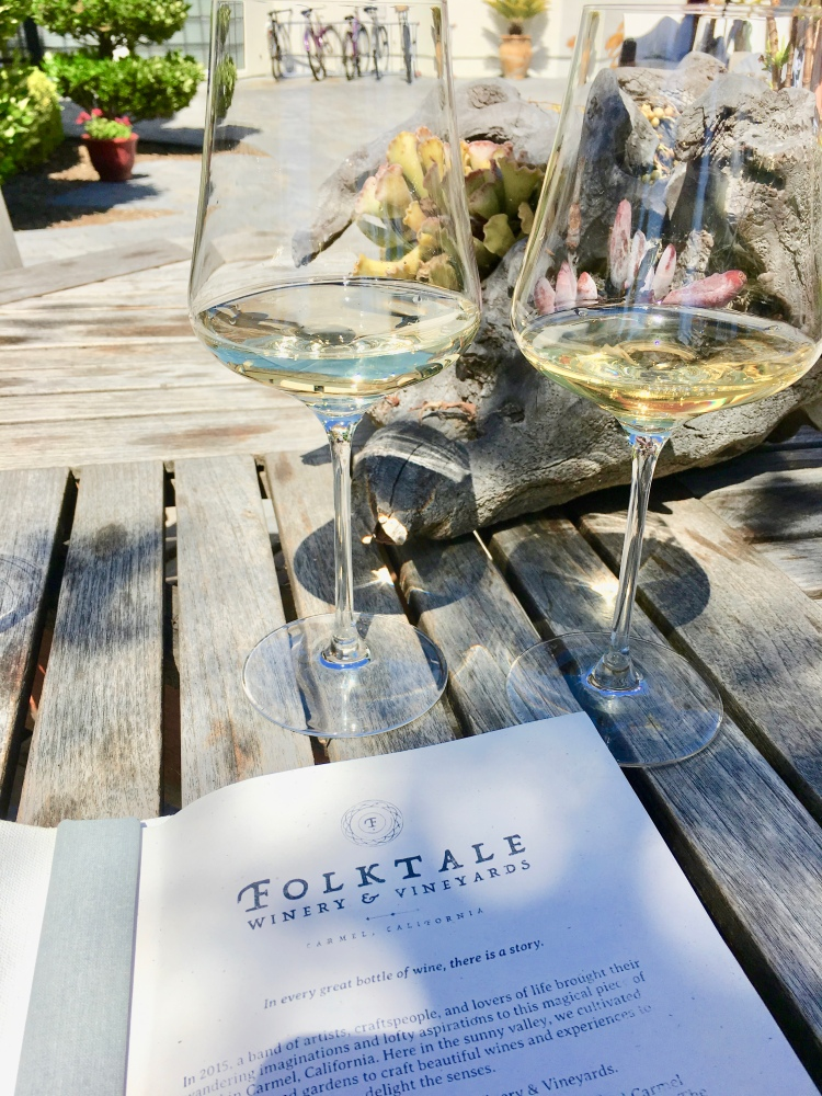 A pair of wine glasses filled with chardonnay at Folktale Winery in Carmel California